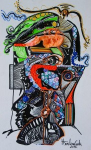 Thais Lino Rosto, Aguia e a mente minha Nanquim com colagem s tela 40x60 2013